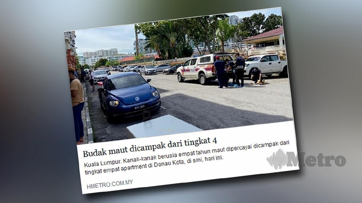 ANGGOTA polis membuat siasatan di lokasi kejadian. FOTO Hafidzul Hilmi Mohd Noor