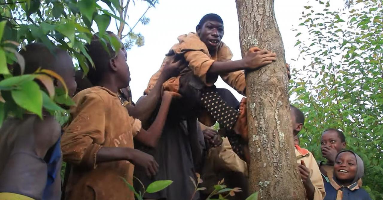 Zanziman is teased by fellow villagers