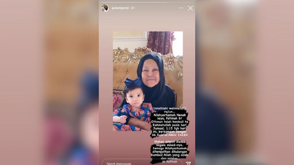 Ibu Ziela, Allahyarham Fatimah menghembuskan nafas akibat komplikasi pelbagai penyakit, tengah hari semalam. Foto Ihsan Dr Puteri Julia Nabilah